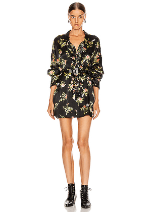 R13 Drop Neck Tuxedo Shirt in Black Floral - Black,Floral. Size XS (also in S,M,L).