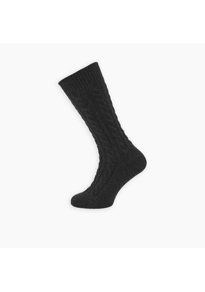 Charcoal Cable Knit Cashmere Socks