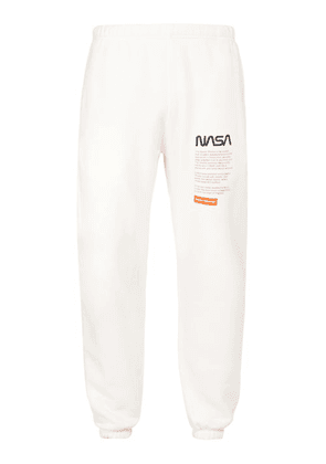 Heron Preston - Nasa Print Slim Fit Cotton Track Pants - Mens - White Multi