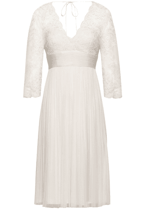Catherine Deane Pleated Silk And Lace Dress Woman Ivory Size 8