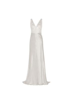 Catherine Deane Olivia Embroidered Satin Gown Woman Silver Size 12