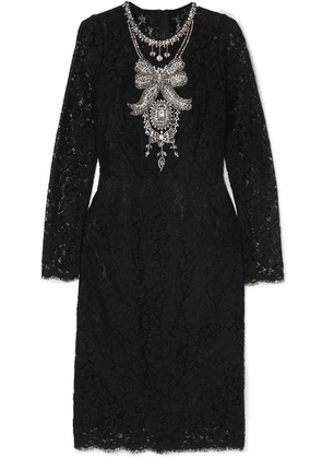 Dolce & Gabbana - Crystal-embellished Corded Lace And Tulle Dress - Black