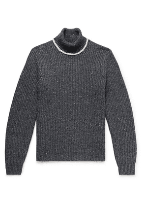 Alex Mill - Contrast-tipped Ribbed Merino Wool-blend Rollneck Sweater - Charcoal