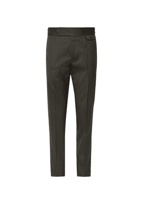 Caruso - Slim-fit Tapered Pleated Wool-blend Twill Trousers - Dark green