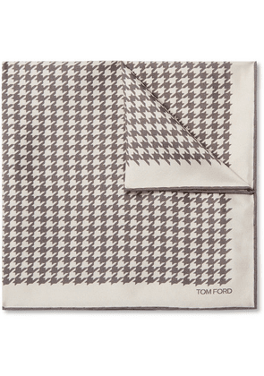 TOM FORD - Houndstooth Silk-twill Pocket Square - Neutral