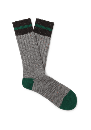 Anonymous Ism - Mélange Ribbed-knit Socks - Gray
