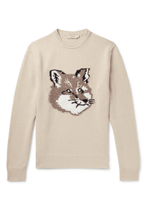 Maison Kitsuné - Logo-intarsia Wool Sweater - Neutral