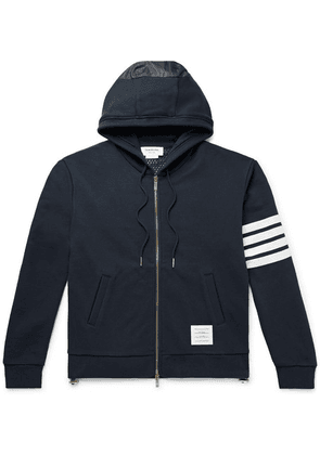 Thom Browne - Panelled Striped Loopback Cotton-jersey And Ripstop Zip-up Hoodie - Navy