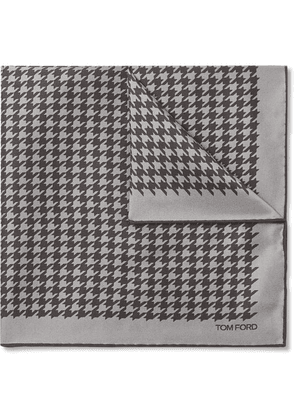 TOM FORD - Houndstooth Silk-twill Pocket Square - Gray