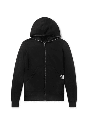 Rick Owens - Appliquéd Fleece-back Cotton-jersey Hoodie - Black