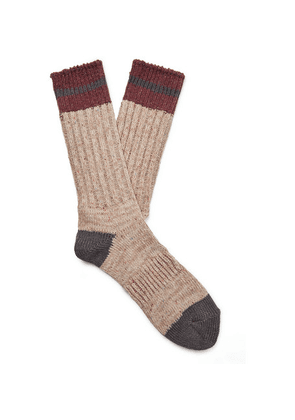 Anonymous Ism - Mélange Ribbed-knit Socks - Beige