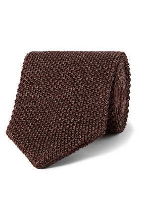 Caruso - 6cm Knitted Silk And Linen-blend Tie - Dark brown