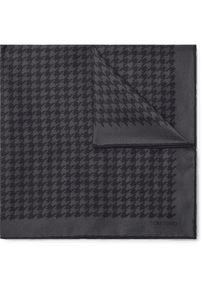 TOM FORD - Houndstooth Silk-twill Pocket Square - Dark gray