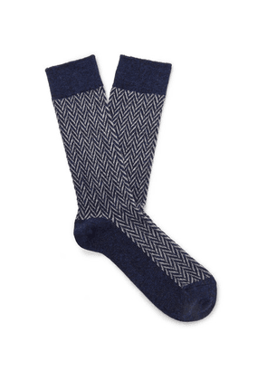 Anonymous Ism - Herringbone Knitted Socks - Blue