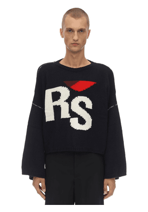 Oversize Virgin Wool Knit Crop Sweater