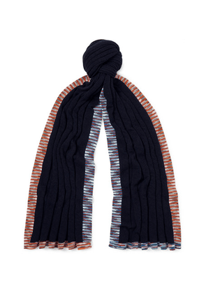 Missoni - Space-dyed Cashmere And Wool-blend Scarf - Navy