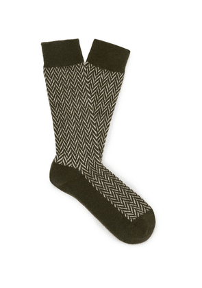 Anonymous Ism - Herringbone Knitted Socks - Green