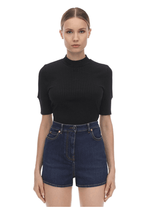 Ribbed Cotton Blend Knit Top