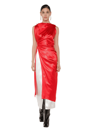 Long Draped Satin Tunic Top