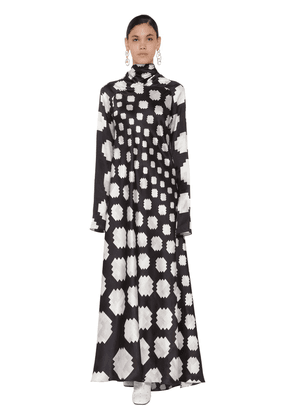 Long Printed Turtle Neck Satin Dress