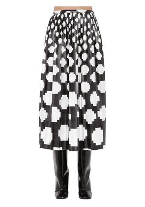 Printed Satin Midi Skirt W/ Pleats