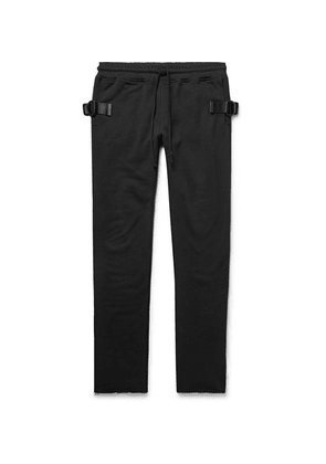 RtA - Slim-fit Tapered Webbing-trimmed Loopback Cotton-jersey Sweatpants - Black