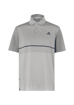 Adidas Golf - Ultimate365 Striped Stretch-jersey Golf Polo Shirt - Gray
