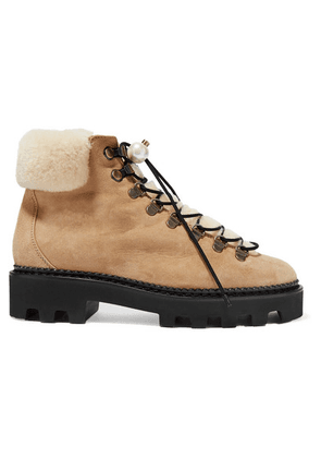 Nicholas Kirkwood - Delfi Faux Pearl-embellished Suede And Shearling Ankle Boots - Beige