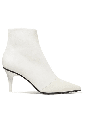 rag & bone - Beha Moto Paneled Leather And Suede Ankle Boots - Off-white