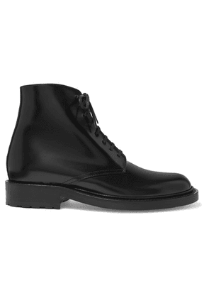 SAINT LAURENT - Army Polished-leather Ankle Boots - Black