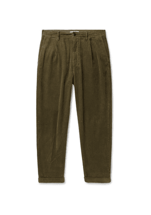 Alex Mill - Tapered Pleated Cotton-corduroy Trousers - Army green