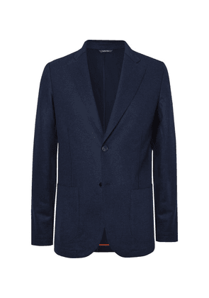 Loro Piana - Navy Slim-fit Suede-trimmed Panelled Cashmere And Wool Blazer - Navy