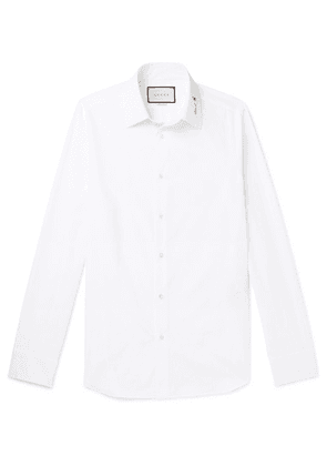 Gucci - Slim-fit Logo-detailed Cotton Shirt - White