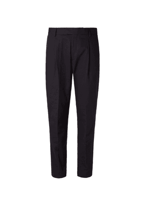 Caruso - Navy Pleated Cotton-twill Trousers - Navy