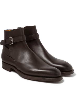 Edward Green - Lambourne Textured-leather Boots - Brown