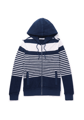 Orlebar Brown - Striped Cotton-terry Zip-up Hoodie - Blue