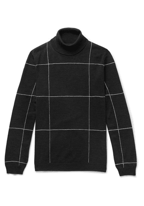 Dunhill - Slim-fit Checked Embroidered Merino Wool Rollneck Sweater - Charcoal
