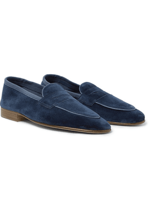 Edward Green - Polperro Leather-trimmed Suede Penny Loafers - Navy