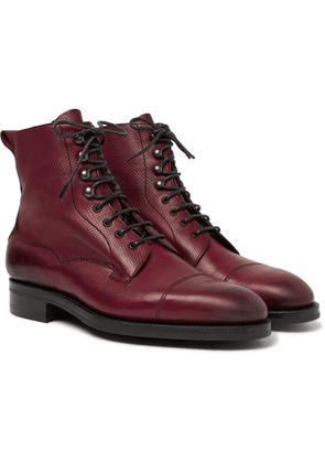 Edward Green - Galway Cap-toe Textured-leather Boots - Burgundy