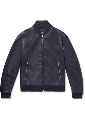 Dunhill - Leather Bomber Jacket - Navy