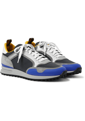 Dunhill - Radial Runner Leather And Suede-trimmed Mesh Sneakers - Midnight blue