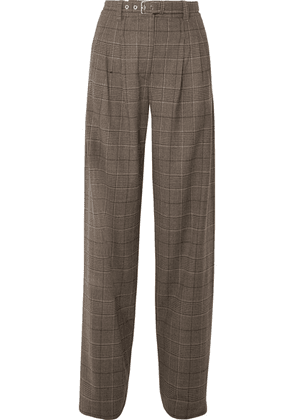 Proenza Schouler - Belted Pleated Checked Wool-blend Wide-leg Pants - Brown