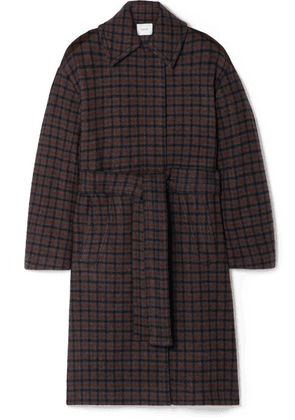 Vince - Belted Checked Wool-blend Coat - Dark gray