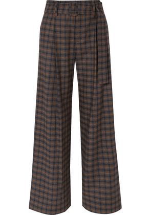 Vince - Belted Checked Woven Wide-leg Pants - Brown