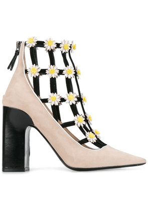 Fabrizio Viti flower embellished booties - Neutrals