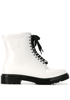 Casadei contrast lace-up boots - White