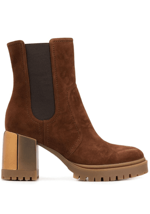 Casadei chunky heel ankle boots - Brown