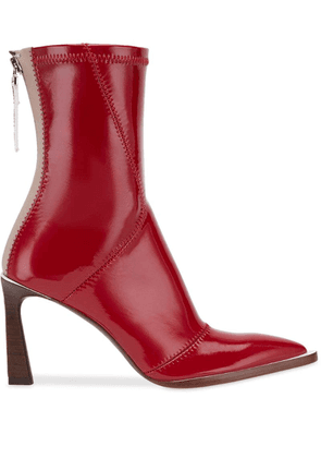 Fendi patchwork effect booties - Red