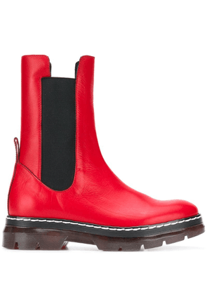 Cédric Charlier ridged sole boots - Red