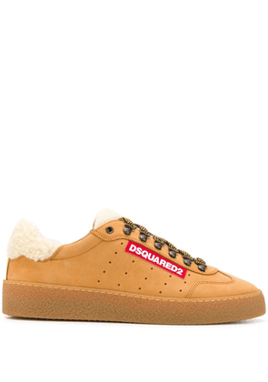 Dsquared2 shearling-trimmed sneakers - Brown